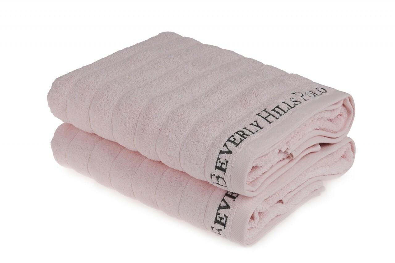Set 2 prosoape de baie, Beverly Hills Polo Club, 70x140 cm, 100% bumbac, roz deschis