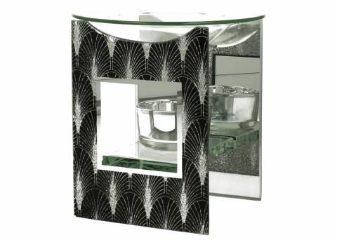 Suport pentru ulei aromoterapie Foxi, Duo, 12 x 9.8 x 8.2 cm, sticla, negru