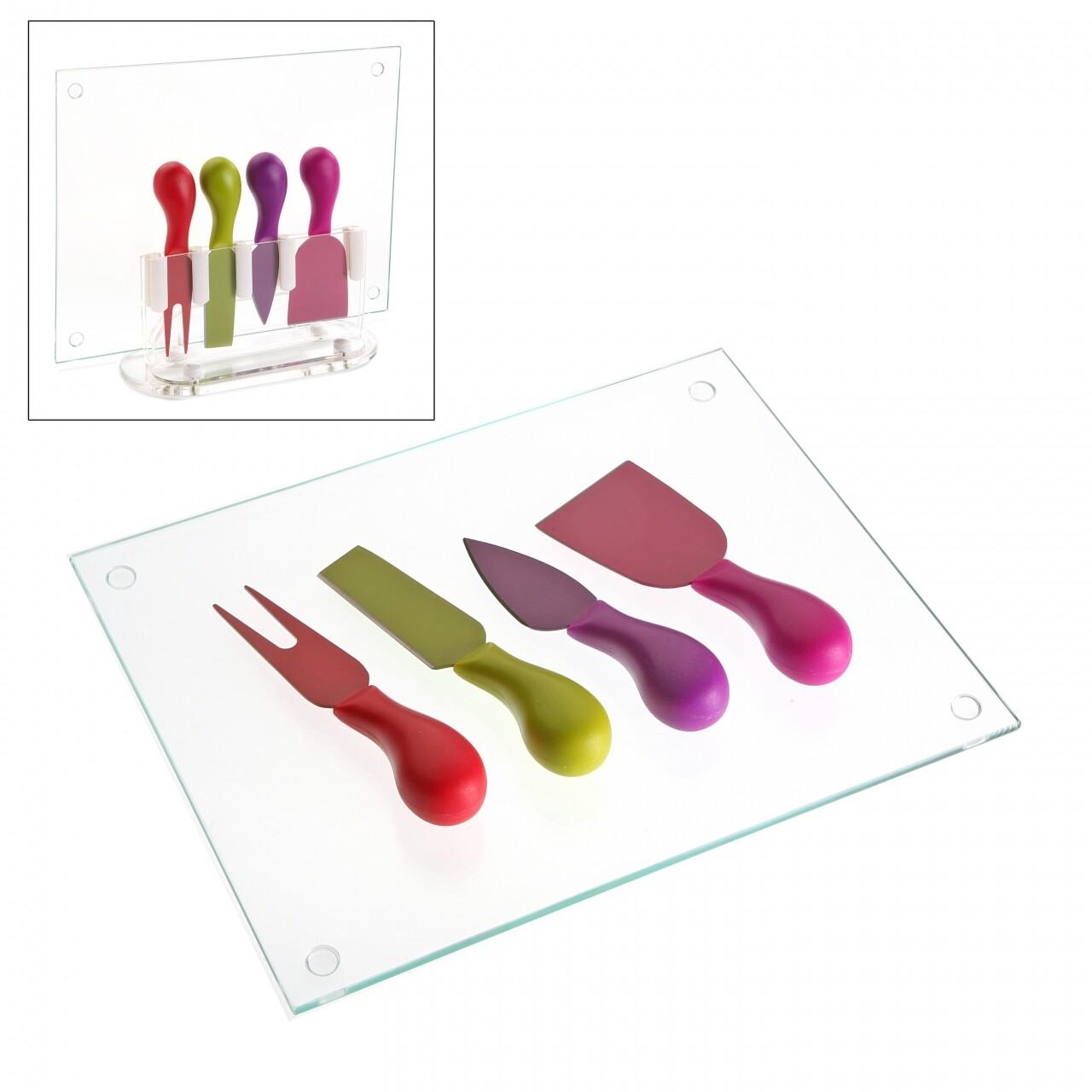 Set 4 cutite si suport pentru branzeturi, Versa, 20 x 26 x 5 cm, multicolor