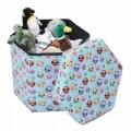 Taburet pliabil cu spatiu de depozitare Hexagonal Owls, Heinner Home, 43 x 38 x 38 cm, PVC, multicolor