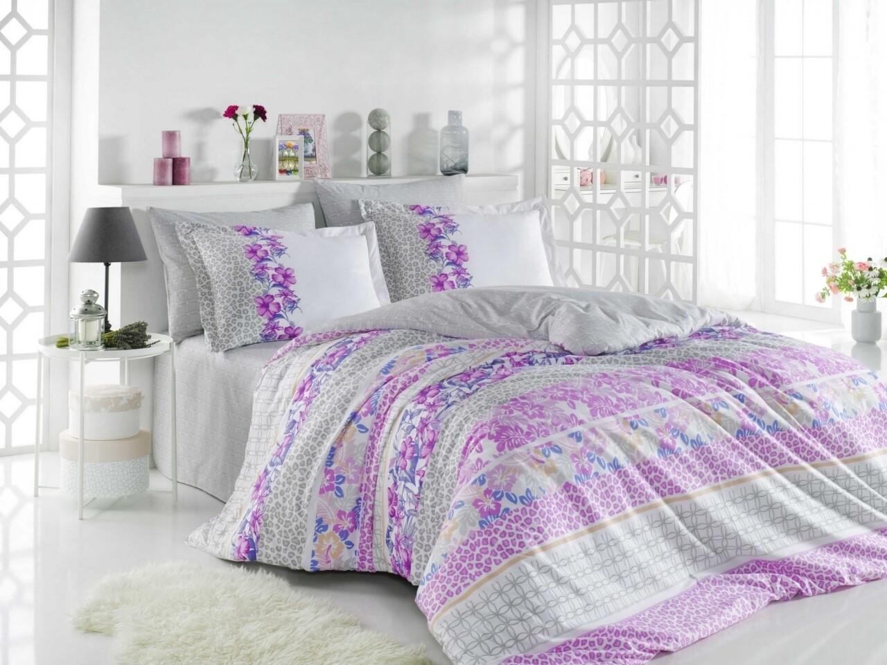 Lenjerie de pat pentru o persoana, 3 piese, 100% bumbac poplin, Hobby, Scarlet, roz/gri