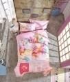 Lenjerie de pat matlasata pentru o persoana Young, 3 piese, 100% bumbac ranforce, Cotton Box, Escape Pink
