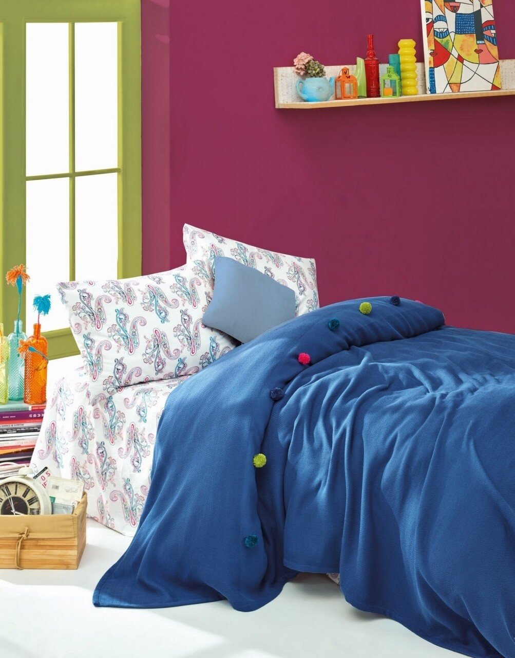 Set lenjerie de pat + cuvertura dubla, 3 piese, 100% bumbac ranforce, Cotton Box, Cotton Box, Fancy Blue
