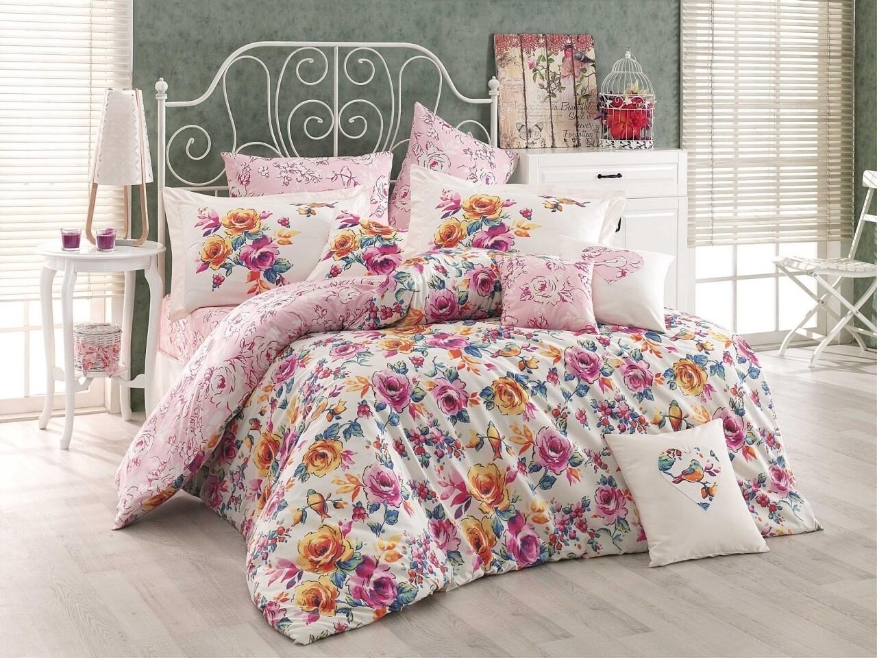 Lenjerie de pat pentru o persoana, 3 piese, 100% bumbac poplin, Hobby, Alessia, roz