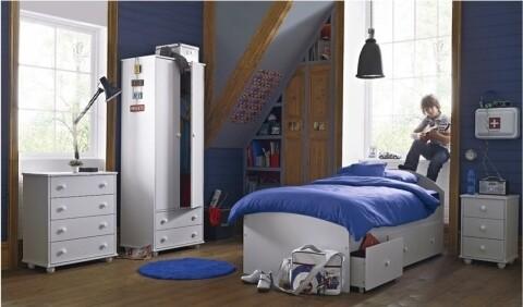 Mobilier Dormitor Otto Alb, Bedora, 1 pat, 1 dulap, 1 noptiera, 1 comoda