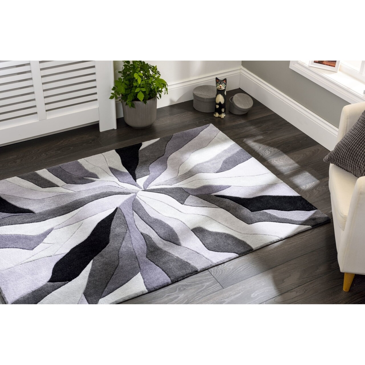 Covor Infinite Splinter Grey, Flair Rugs, 80 x 150 cm, 100% poliester, gri