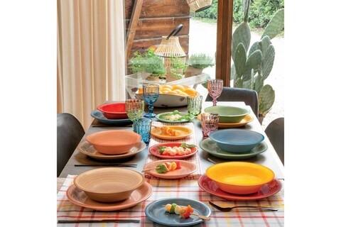 Serviciu de masa 18 piese, Louise In&Out, Tognana, ceramica glazurata, multicolor