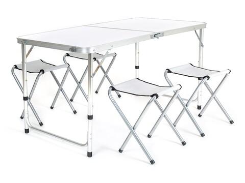 Set masa si 4 scaune pliabile pentru camping Bilbao, Happy Green, otel/aluminiu