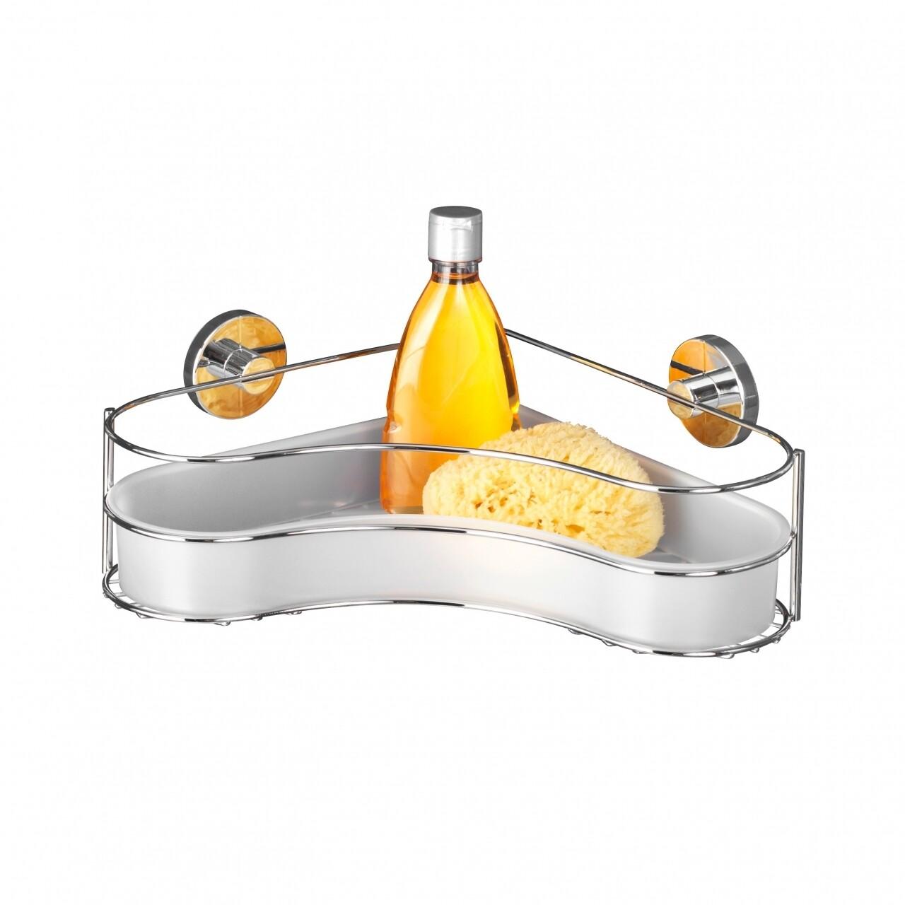 Polita de colt pentru baie WENKO Vacuum-Loc® Milazzo, 24 x 35 x 11.5 cm, otel, argintiu
