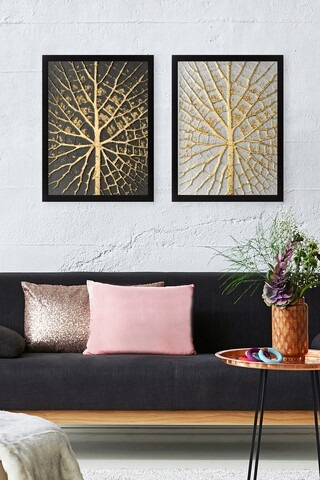Set 2 tablouri decorative Tree Golden, Tablo center, 34x44 cm, MDF, multicolor
