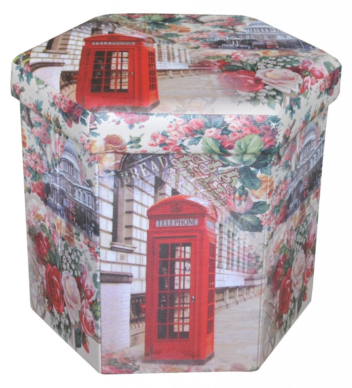Taburet pliabil cu spatiu de depozitare Hexagonal Phone, Heinner Home, 43 x 38 x 38 cm, PVC, multicolor