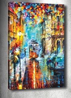Tablou decorativ 3D Late Night Tram, Tablo center, 40x60 cm, canvas, multicolor