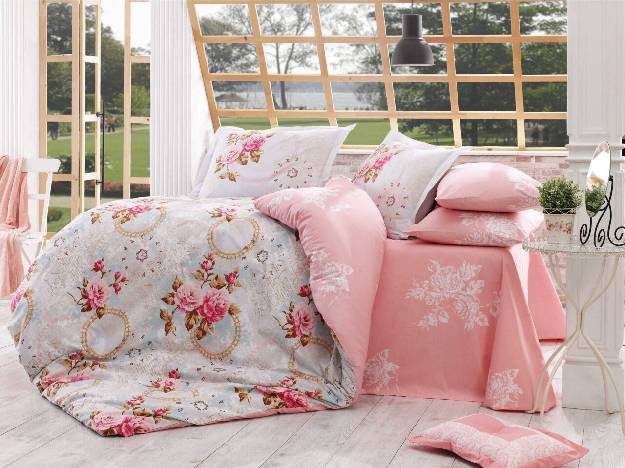 Lenjerie de pat pentru o persoana, 3 piese, 100% bumbac poplin, Hobby, Clementina, roz