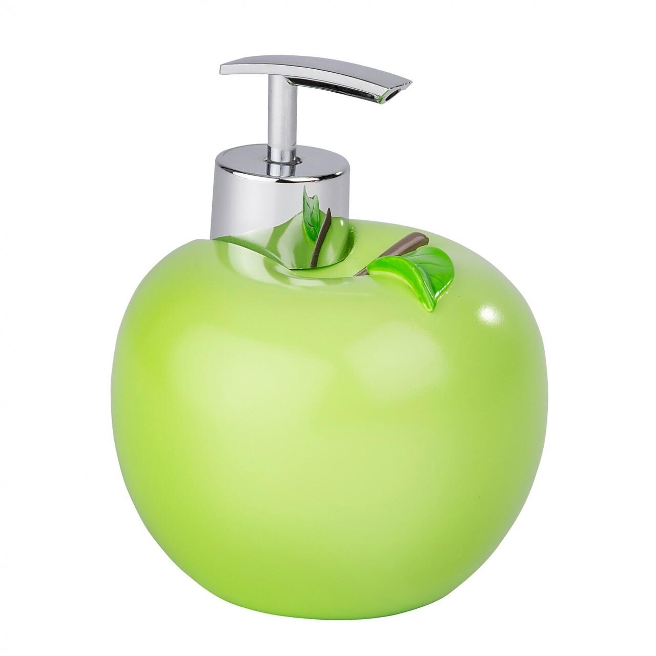Dozator sapun Apple, Wenko, 10.5 x 12.5 cm, polirasina/ABS, portocaliu
