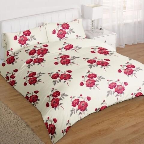 Lenjerie de pat dubla Red Rose, Heinner, 4 piese, 220 x 240 cm, 100% microfibra, bej/rosu