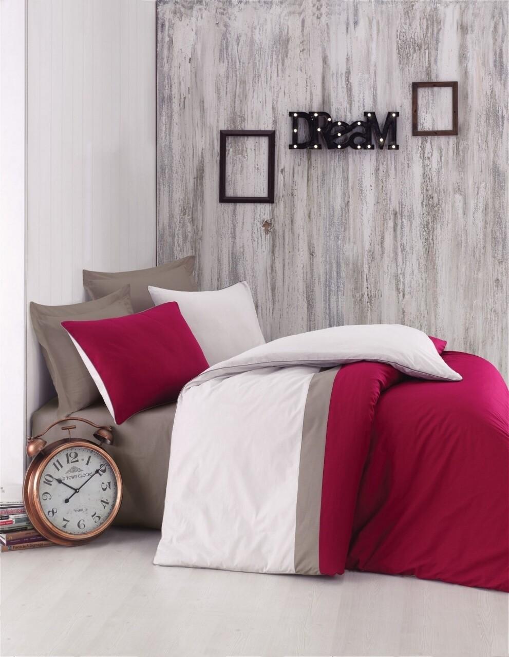 Lenjerie de pat pentru o persoana, 3 piese, 100% bumbac ranforce, Cotton Box, Plain Sport Claret Red