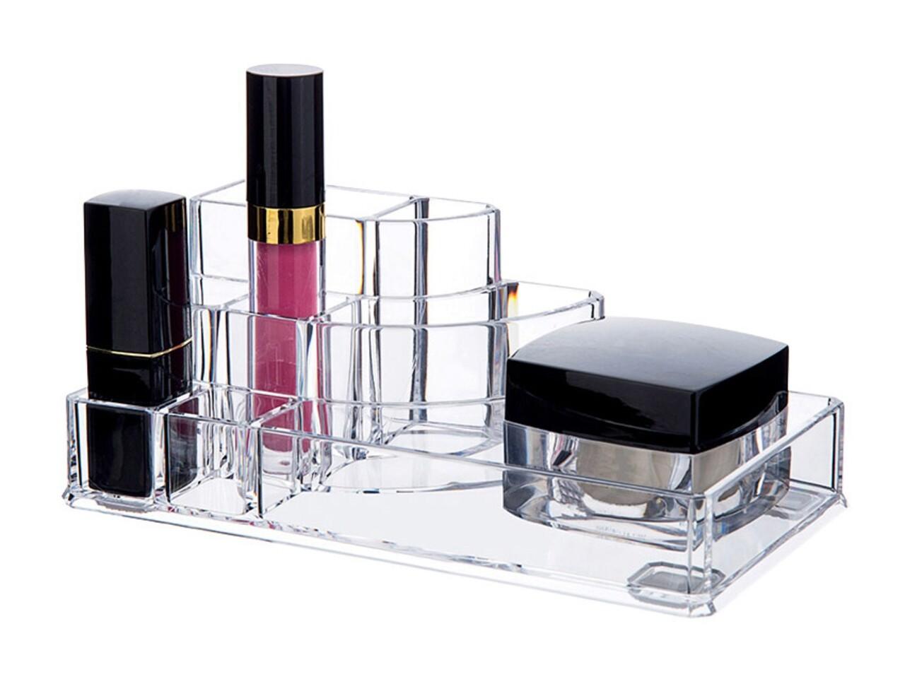 Organizator pentru cosmetice Compactor, 8 compartimente, transparent