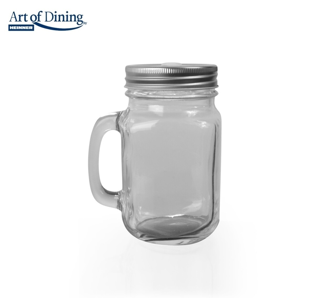 Halba tip borcan cu capac perforat, Heinner Home, 600 ml, sticla/metal, transparent