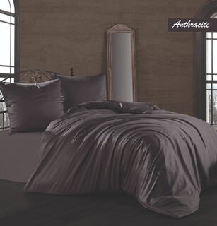 Lenjerie de pat dubla Anthracite, Majoli Home Collection, 4 piese, 240x260 cm, bumbac satinat, antracit