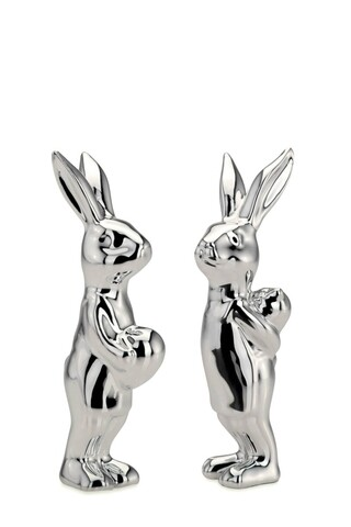 Set 2 decoratiuni Rabbits, Hermann Bauer, 2x3x9 cm, portelan, argintiu