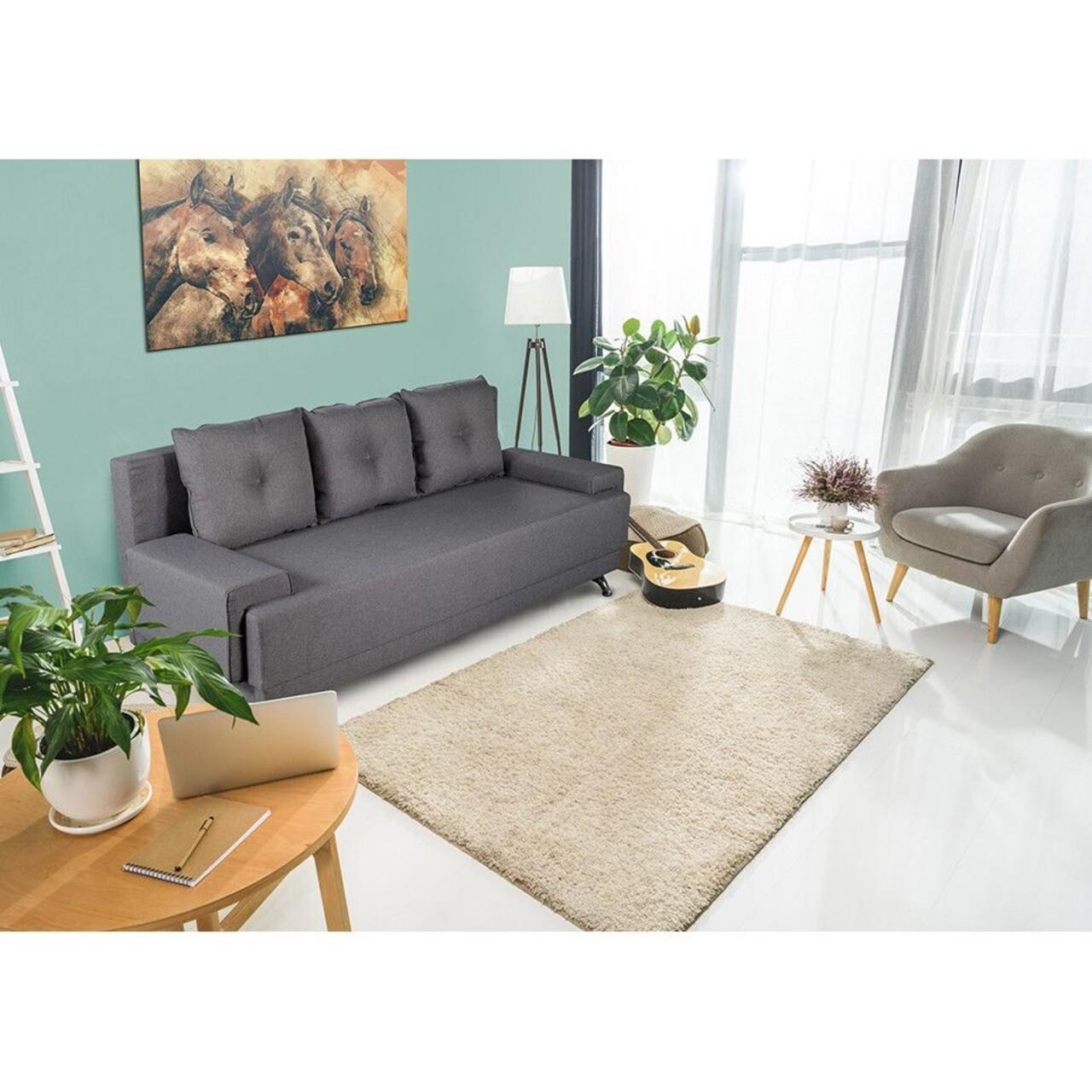Canapea extensibilă Roma Lux Grey 205x90x86 cm + ladă de depozitare, gri