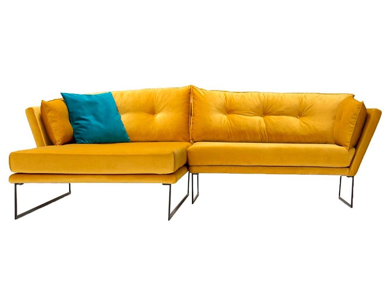 Coltar stanga Relax Yellow, Heinner, 258x170x80 cm, catifea