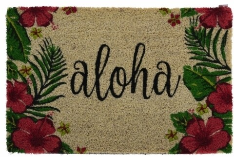 Covoras de intrare din fibra de cocos, 40x60 cm Aloha, multicolor