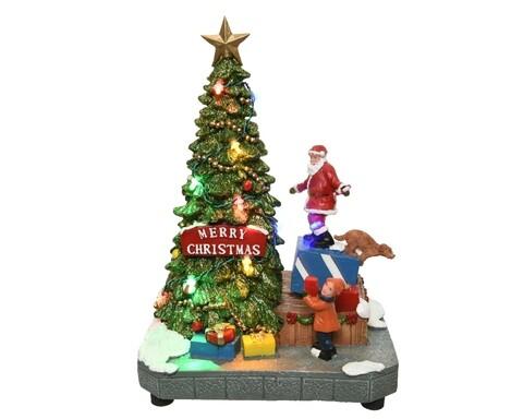 Decoratiune cu lumini si miscare Santa and tree, Lumineo, multicolor